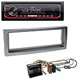 caraudio24 JVC KD-X262 1DIN MP3 USB AUX Autoradio für Citroen C5 Peugeot 407 ab 04 grau-metallic