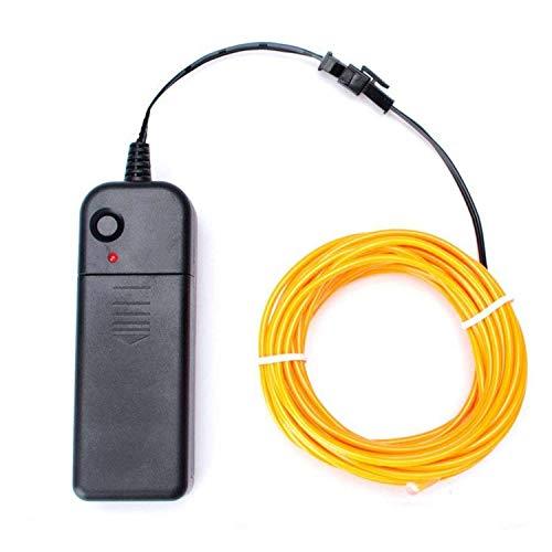 5M/16.4Ft EL Wire Kabel Neon Glühende Strobing Elektrolumineszenz Draht Lichtschnur mit Batterie Controller für Cosplay Halloween Weihnachtsfeier DIY Dekoration (Gelb)