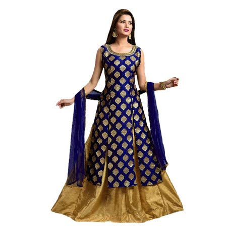 Aarna Fashion Women\'s gowns for women readymade(Semi - stitched) party wear (blue)