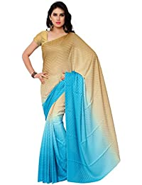 GL Sarees Casual Plain Solid Beige And Sky Blue Shaded Crepe Buti Work Saree For Women