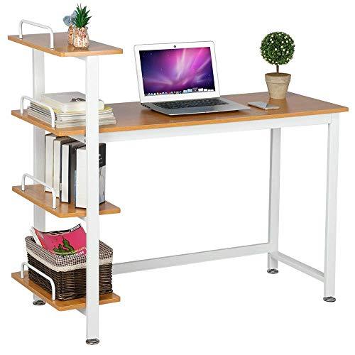 Yaheetech scrivania computer angolare moderna con libreria cameretta ufficio studio (marrone)