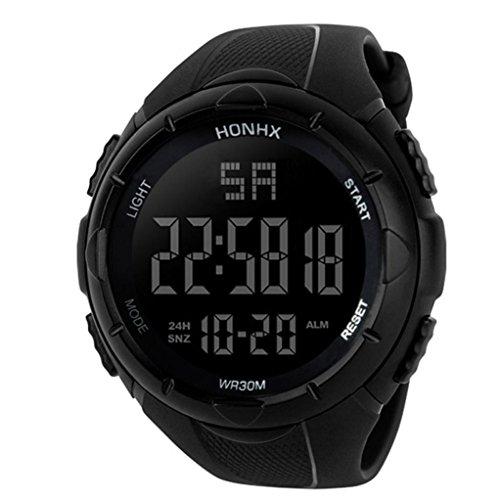 Deportes Cronómetro lujo hombres analógico Digital Militar ejército deporte LED resistente al agua reloj de pulsera de material resistente al agua., Black 1, Sport