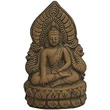 Vishwanath Murti Bhandar Terracotta Sitting Lord Buddha Idol (13 cm x 10 cm x 8 cm, Brown)