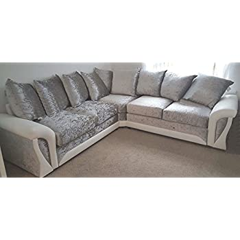 Peachy Shannon Corner 3 2 Seater Leather And Crushed Velvet Fabric White And Silver Corner Sofa 2C2 Theyellowbook Wood Chair Design Ideas Theyellowbookinfo
