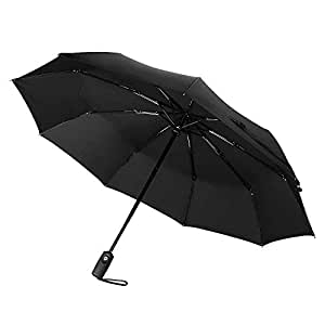 TopElek Compact Umbrella, Lifetime Replacement Guarantee, Auto Open & Close Travel Folding Umbrella with Reinforced 9 Ribs, Windproof Fast Drying Umbrella, Slip-Proof Handle for Easy Carry, Black