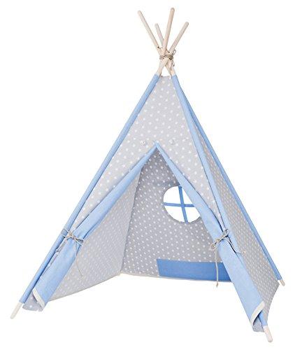my-teepee, tente tipi pour garçons ou filles de 2 à 8 ans, piquets en épicéa naturel, toile 100% coton, montage rapide, gris/bleu