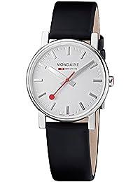 Mondaine EVO SILVER BLACK STRAP A658.30300.18SBB - Reloj para mujeres, correa de cuero color negro