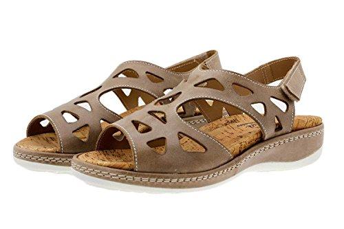 Komfort Damenlederschuh PieSanto 1905 Sandale mit herausnehmbarem Fußbett bequem breit Visón