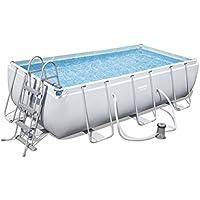 Bestway Power Steel Rectangular Frame Pool Set (404x201x100 cm), Stahlrahmenpool Set mit Filterpumpe