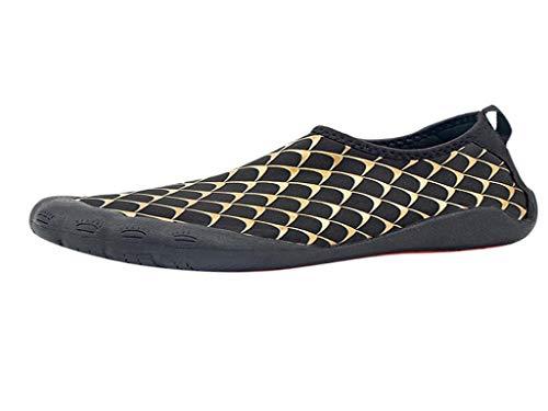 YEBIRAL Unisex Badeschuhe Strandschuhe Aquaschuhe Wasserschuhe Surfschuhe Wasserdicht Schnell Trocknend Barfuß Schuhe Wassersport Schuhe für Herren Damen(46 EU,Gold)