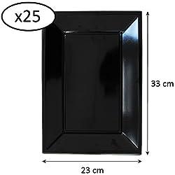 Extiff - Juego de 25 Platos de plástico reciclables de Colores, Negro, 23 x 33 cm