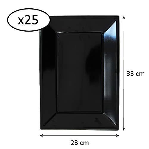Extiff - Pack de 25 Placas de plástico reciclables en color, tamaños y colores a elegir (Negro, 23 x 33 cm)