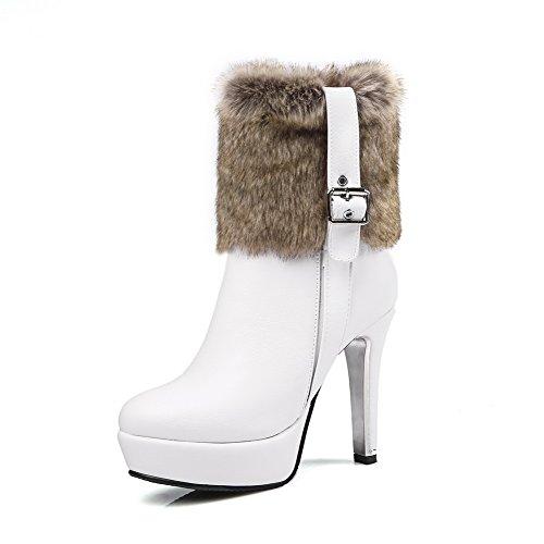 VogueZone009 Damen Hoher Absatz Blend-Materialien Niedrig-Spitze Reißverschluss Stiefel, Cremefarben, 35