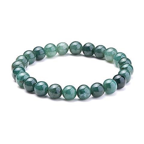SUNNYCLUE Natural Genuine Emerald Jade Gemstones Bracelet Stretch 8mm Round Beads about 7