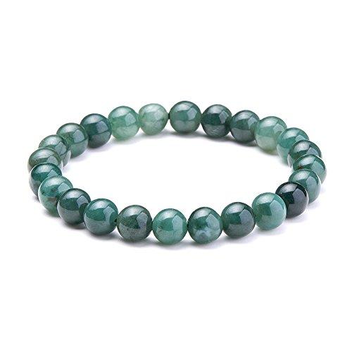 SUNNYCLUE natur Echter Smaragd Jade Edelsteine Armband Stretch Perlen rund 8 mm über 7' Unisex