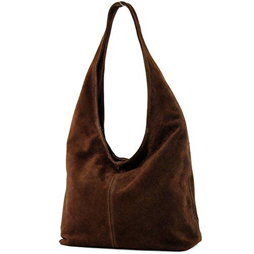 Tasche Braun Stoff Handtaschen (modamoda de - T150 - ital Schultertasche aus Leder Wildleder, Farbe:Schokoladenbraun)