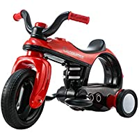 Ying Hao Electric Tricycle for Kids Aged 2 - 5 Years old 6v - Ride on Motorbike with LED Lights, Futuristic Design, Music and Horn sounds - Red