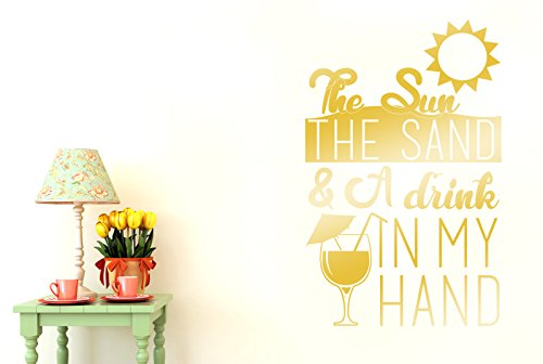 the-sun-the-sand-and-a-drink-in-my-hand-vinilo-pegatinas-de-pared-decorativo-gran-alto-88cm-x-ancho-
