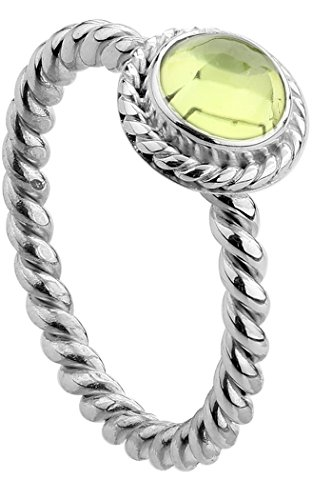 Nenalina Damen Ring Silberring besetzt mit 6 mm hellgrünem Peridot Edelstein, handgearbeitet aus 925 Sterling Silber, Gr. 56-212999-013-56