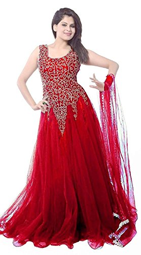 Mahavir Fashion Women\'s Net Embroidered Semi-stitched Gown For Western Wear.
