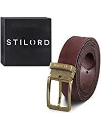 STILORD Vintage Cinturón Cuero Hombre Marrón Universal Recortable para  Looks Business Casual y Vaqueros 34 mm a62e31c14df5