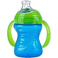 Nuby ID10052BLUE - Taza con asas, con boquilla de silicona y tapa protectora, 240 ml, azul