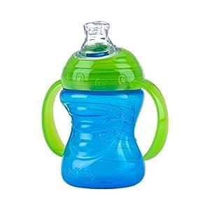 vasos con boquilla: Nuby ID10052BLUE - Taza con asas, con boquilla de silicona y tapa protectora, 24...