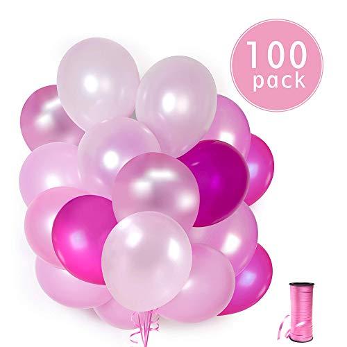 100 Rosa Latex Ballons + Rosa Band + Halter + Ballon Wandaufkleber | 5 gemischte Farben Luftballons | Pink Party, Junggesellinnenabschied, Baby party und Geburtstag | 30 cm | Helium oder Luft