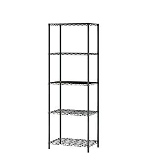 Home-Like Wire Storage Rack Unit Multi Purpose Shelf Storage Wire Shelving Modern Storage Organization Rack Suitable For Kitchen Home Office (5 Tier, Black)