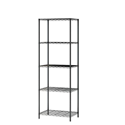 MULSH 5-shelf Draht Regal Rack Metall Regal freistehend Lagerung Organizer Einheit, 53,5x 35x 155cm schwarz (Regal Regal, 5 Draht)