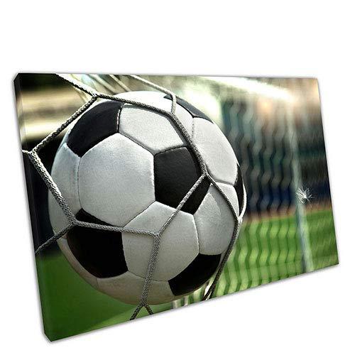 EACanvas Kunstdruck auf Leinwand, Motiv Ball trifft auf die Rückseite des Netzes Fußballtor, A4-12 x 8 Inch (12 X 8 Fußballtore)