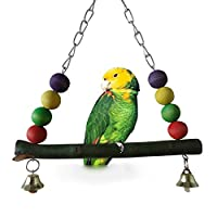 fast-shop 1pcs Handmade Bird Swing Toy Parrot HangingToy Parakeet Budgie Cockatiel Cage Hammock (Swing Toy 2 with Bell) Useful and Practical