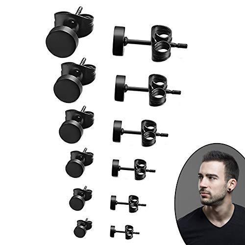 SwirlColor Edelstahl Ohrstecker Set schwarz Runde Ohrstecker ordentlich Ohrringe Kit für Frauen Männer 3mm-8mm 6 Paar (Runden)