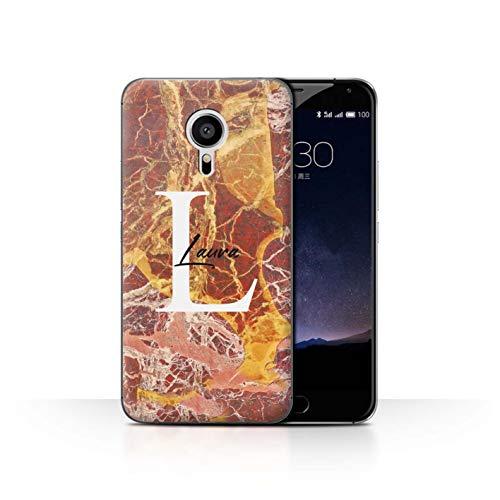 eSwish Personalisiert Individuell Mode Marmor Stein Hülle für Meizu Pro 5 / Luxus Rotgold Quarz Design/Initiale/Name/Text Schutzhülle/Case/Etui