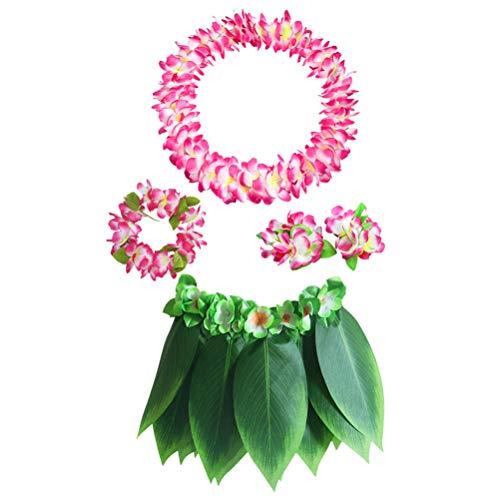 BESTOYARD 5 Stück Hula Rock Hawaiian Kostüm Set mit grünen Blättern Leis Armbänder Stirnband Luau Party Favors für Strand Luau Party Supplies (Erwachsene, Sonnenblume und Blätter)