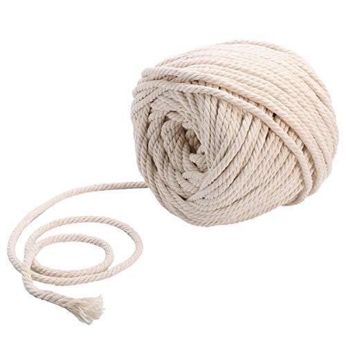 CozofLuv Makramee Garn Garn Baumwolle Kordel Baumwollegarn Baumwollschnur Rope für DIY Handwerk Basteln Wand Aufhängung Pflanze Aufhänger (60m * 5mm)