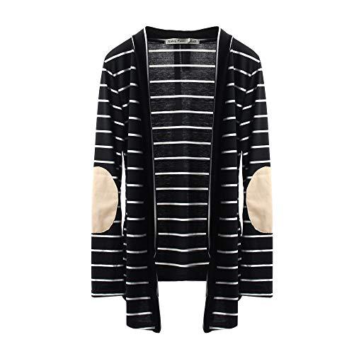 ABCone Donna Pullover Felpa Capispalla Patchwork di Cardigan Righe T Shirt Maniche Lunghe Elegante Autunno Camicette Camicie Casual Tops