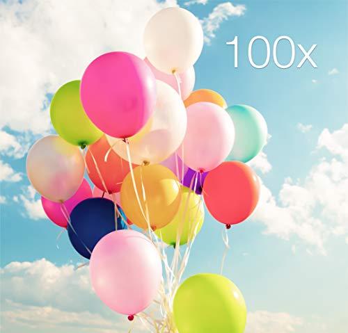 TK Gruppe Timo Klingler 100x Luftballons Ø 35 cm über 15 gemischte Farben Luftballon Ballon bunt wie blau, gelb, rot, lila, pink, weiß, Gold, grün Latexballons für Helium und Luft (100x bunt-Mix)