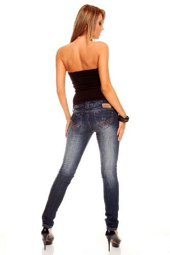 Jeans Hose skinny stone washed Stretch Röhrenjeans blau 23094 Blau