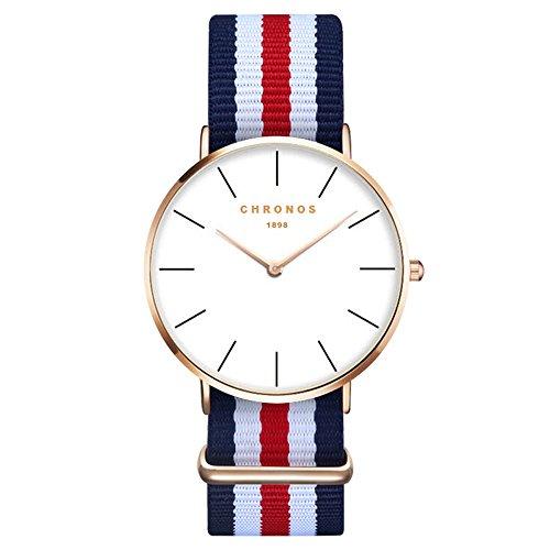 XLORDX Damen Unisex Armbanduhr elegant Quarzuhr Uhr modisch Zeitloses Design klassisch Gold Nylon Blau Rot Weiß