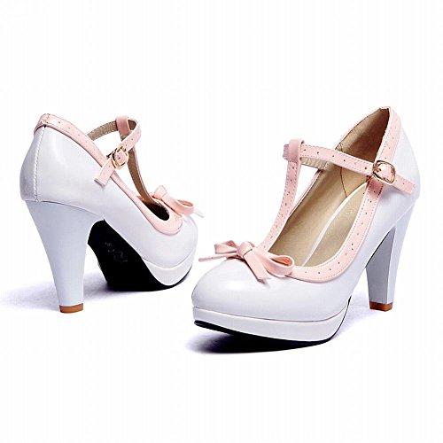 Mee Shoes Damen modern süß populär t-strap Schnalle mit Schleife runder toe Lackleder Plateau Pumps mit hohen Absätzen Weiß