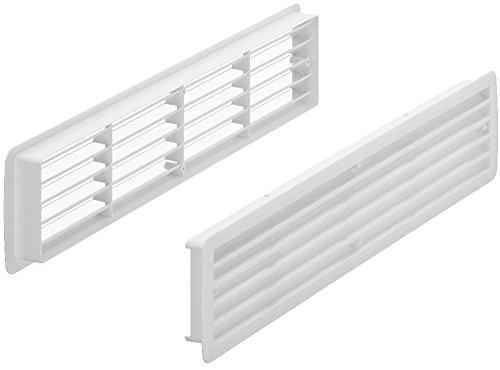 Lüftungsgitter Tür-Gitter weiß Abluftgitter Kunststoff ABS | Belüftungsgitter eckig | 457 x 92 mm | Türlüftung für Türdicke 35 – 40 mm | Möbelbeschläge von GedoTec®