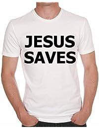 Jesus Saves T-shirt,cadeau,Homme,Blanc,t shirt homme