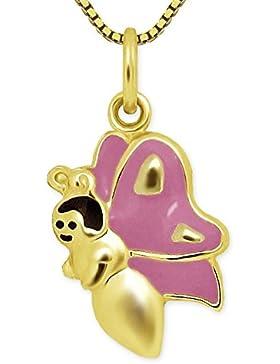 CLEVER SCHMUCK-SET Goldener Anhänger kleiner Schmetterling 13 mm mit Gesicht schwarz und Flügel rosa lackiert...