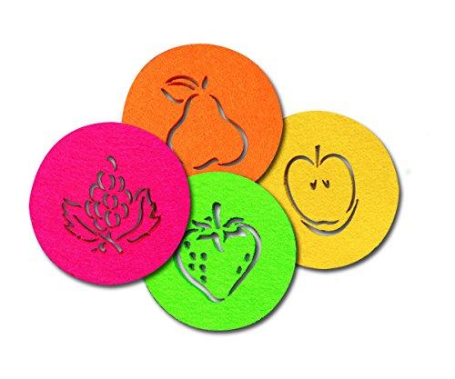 SUPMO Filzuntersetzer Glasuntersetzer rund in bunten Farben mit Obst Motiven (Farbe + Design wählbar), 5mm dick, elegant und auffallend – Untersetzer aus Filz für Getränke Gläser Schalen (4er, Mix)