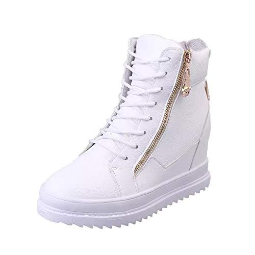 Lonshell Damen Blockabsatz Leder Ankle Stiefeletten Klassische Winter Stiefel Plattform Schuhe Boots...