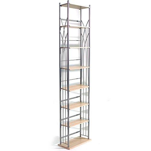 WATSONS DAKOTA - 140 DVD Blu-ray / 210 CD Media Storage 7 Tier Tower Shelves - Silver