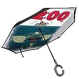 1200 am Gremlins Jaws poster doppio strato invertito ombrello per auto retromarcia pieghevole capovolto mani a forma di C - leggero e antivento - regalo ideale