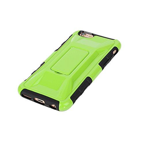 """MOONCASE iPhone 6 Plus Case Dual Layer hybride Hard Shell Béquille Cover Housse Coque Etui Case pour iPhone 6 Plus (5.5"""") Blanc Vert"""