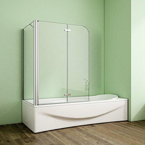 duschwand ecke Duschabtrennung Badewannenaufsatz 80x120x140cm Eck Duschwand Badewanne 2-tlg.Faltwand Badewannenfaltwand mit Seitewand 6mm NANO Sicherheitsglas